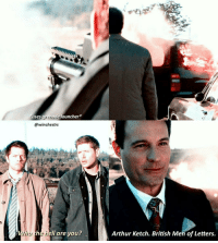 Arthur, Memes, and 🤖: uses grenade launcher  @winchestrs  who  the ell are you?  n  Arthur Ketch. British Men of Letters. [12.08] I love that he used a grenade launcher. Thats so extra 😂😂 Tbh in general I dont like the British men of letters but idk I love Ketch . QOTD: please go wish @deanwnchesters a happy birthday!♡ . (And maybe check out the edit I made her on @itsbtsjimin 😅) . . . . . . New week! See yall on showgo for supernatural this Thursday! If you're new and would like to join us, the app is free and the download link is in my bio♡ . . . . . . . . . supernatural spn spnfamily fandom cw destiel jensenackles jaredpadalecki mishacollins deanwinchester samwinchester castiel cas akf season12 bmol