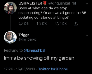 Dank, Iphone, and Memes: USHMEISTER@kingushbal 1d  Sooo at what age do we stop  snapchatting? Or are we all gonna be 65  updating our stories at bingo?  110K  Trigga  @lm_Saiko  Replying to @kingushbal  Imma be showing off my garden  17:26 15/05/2019 Twitter for iPhone #TomatoSzn #BestGardenInMaryland by KingPZe MORE MEMES