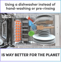 """Using a dishwasher instead of hand-washing or pre-rinsing is way better for the planet.: Using a dishwasher instead of  hand-washing or pre-rinsing  Cor  erI  """"WHY YOU SHOULDN'T WASH YOUR DISHES BY HAND  WASHINGTON POST (2015)  IS WAY BETTER FOR THE PLANET Using a dishwasher instead of hand-washing or pre-rinsing is way better for the planet."""