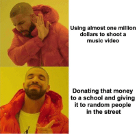 Memes, Money, and Music: Using almost one million  dollars to shoot a  music video  Donating that money  to a school and giving  it to random people  in the street https://t.co/efbuVJ5jny