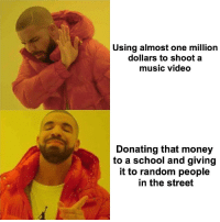 """Drake, Money, and Music: Using almost one million  dollars to shoot a  music video  Donating that money  to a school and giving  it to random people  in the street <p>Drake being wholesome via /r/wholesomememes <a href=""""http://ift.tt/2HpF9Rs"""">http://ift.tt/2HpF9Rs</a></p>"""