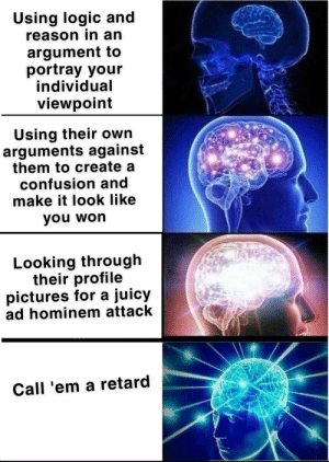 Cyberspace quarrels in 2019: Using logic and  reason in an  argument to  portray your  individual  viewpoint  Using their own  arguments against  them to create a  confusion and  make it look like  you won  Looking through  their profile  pictures for a juicy  ad hominem attack  Call 'em a retard Cyberspace quarrels in 2019