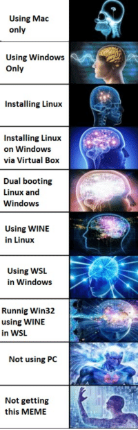 Meme, Windows, and Wine: Using Mac  only  Using Windows  Only  Installing Linux  Installing Linux  on Windows  via Virtual Box  Dual booting  Linux and  Windows  Using WINIE  in Linux  Using WSL  in Windows  Runnig Win32  using WINE  in WSL  Not using PC  Not getting  this MEME For geeks :)))