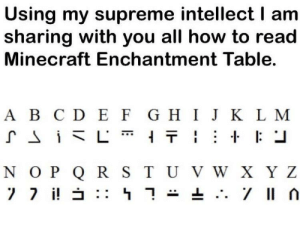 Minecraft, Supreme, and How To: Using my supreme intellect I am  sharing with you all how to read  Minecraft Enchantment Table.  A B C D E F G H I J K L M  N OP Q R S T UVW X Y Z Everyone must learn the truth.
