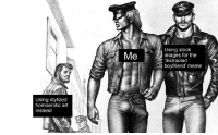 me🍆irl: Using stock  images for the  'distracted  boyfriend' meme  Using stylized  homoerotic art  instead me🍆irl