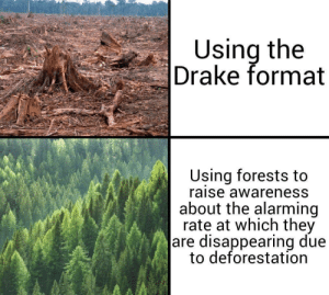 Memes are evolving: Using the  Drake format  Using forests to  raise awareness  about the alarming  rate at which they  are disappearing due  to deforestation Memes are evolving