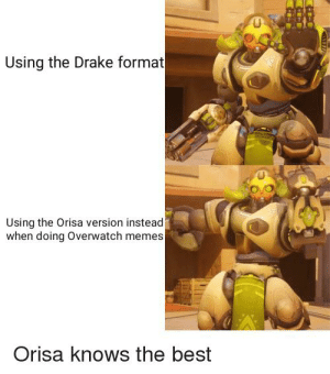 Drake, Memes, and Best: Using the Drake format  Using the Orisa version instead  when doing Overwatch memes  Orisa knows the best yes