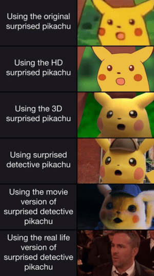 Meirl by Derplaty MORE MEMES: Using the original  surprised pikachu  Using the HD  surprised pikachu  Using the 3D  surprised pikachu  Using surprised  detective pikachu  Using the movie  version of  surprised detective  pikachu  Using the real life  version of  surprised detective  pikachu Meirl by Derplaty MORE MEMES
