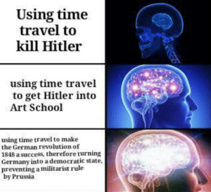 Something something Hitler: Using time  travel to  kill Hitler  using time travel  to get Hitler into  Art School  using time travel to make  the German revolution of  1848 a success, therefore turning  Germany into a democratic state,  preventing a militarist rule  by Prussia Something something Hitler