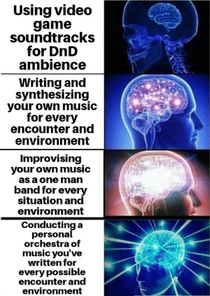 When inspiration strikes, the meme must be made immediately: Using video  game  soundtracks  for DnD  ambience  Writing and  synthesizing  your own music  for every  encounter and  environment  Improvising  your own music  as a one man  band for every  situation and  environment  Conducting a  personal  orchestra of  music you've  written for  every possible  encounter and  environment When inspiration strikes, the meme must be made immediately