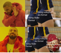 Volleyball: Using volleyball  ass format  Using Drake  Format  Using volley  ass format  Using  different memes  in one format  ree  Using Drake  Format