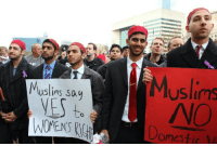 America, Fraternity, and Muslim: uslins say  YES  Muslims  NO  to  WOMENS RI  omestic V femininefreak:  When a Muslim fraternity from the University of Texas at Dallas took to the streets to protest against domestic violence, these striking pictures made waves around the world. Muslim America rocks — we just don't hear about it often.  oh hey look something the media doesn't want you to believe exists