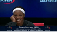 😂: USOPEN.OF  Sloane Stephens (USA)  Def. Anastasija Sevastova (LAT) 6-3, 3-6, 7-6  Advances to Semifinals vs. Williams/Kvitova Winner  US OPEN  US OPEN  USOPEN ORG  USOPENORG 😂
