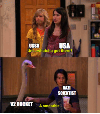 Operation Paperclip colorized (1959): USSR  Um..whatcha got there?  USA  NAZI  SCIENTIST  V2 ROCKET  A smoothie. Operation Paperclip colorized (1959)