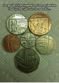England, Tumblr, and Blog: ust got back from England and was excited that  had just the right coins fo make this... srsfunny:Hidden In England's Coins