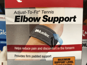 Tennis, What Does, and Helps: ust-To-Fit Tennis  Ad  Elbow Support  ens  Mueller  Gld  HU  ADJU  Helps reduce pain and discomfort in the forearm  Provides firm padded support  MAXIMUM  SUPPORT LEVEL  See Details On Qur Website So what does it do?