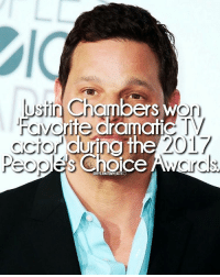 Memes, 🤖, and Chamber: ustin Chambers w  ite dramatic  ccior during the  2017  Choice  AWL  GREYSANATOMYFACTS 🎉🎉congrats @officialjustinchambers question: who is your favorite actor-actress? justinchambers alexkarev peopleschoiceawards peopleschoiceawards2017 favoriteactor favoritedramatictvactor greysabc greysanatomyfacts greys greysanatomy greysfacts