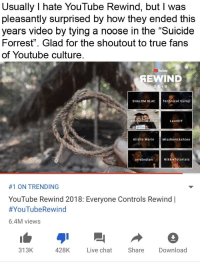 "Missremiashten: Usually I hate YouTube Rewind, but I was  pleasantly surprised by how they ended this  years video by tying a noose in the Suicide  Forrest"". Glad for the shoutout to true fans  of Youtube culture.  SEWIND  SHALOM BLAC  Technical Guruji  LaurDIY  Alisha Marie MissRemiAshten  Jordindiarn  NikkieTutorials  #1 ON TRENDING  YouTube Rewind 2018: Everyone Controls Rewind 