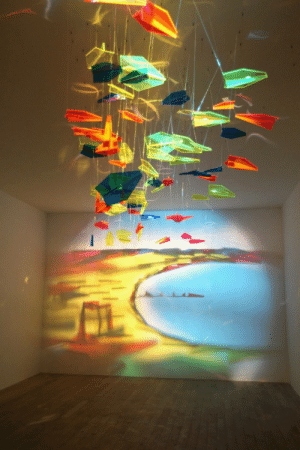 Target, Tumblr, and Best: uumans: the-stray-liger:  turnthehourglassover:  intergalacticju:  opticallyaroused: A Painting Made From Pieces of Glass   that's amazing  i just realized it's not just pieces of glass they're shaped as paper planes the piece can be complete and aesthetically pleasing even when there is no projection this is so good and it makes me so happy  THIS IS ALSO SCIENCE. SCIENCE ART. THE BEST KIND OF ART.