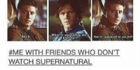 Memes, Squirrel, and 🤖: uwha're yougding me a supposed to say jerk  You're Bitch.  #ME WITH FRIENDS WHO DON'T  WATCH SUPERNATURAL Yup :)  ~ Squirrel