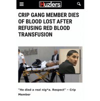 "Bloods, Crips, and Memes: uzlers  CRIP GANG MEMBER DIES  OF BLOOD LOST AFTER  REFUSING RED BLOOD  TRANSFUSION  ""He died a real nig*a. Respect"" Crip  Member 😭😭😭😭😭"
