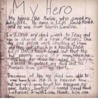 Af, Dad, and Heaven: V Hero  My hero is the Marine, who Saved m  and he was from North Carolina.  n 20o ny dad went to Frag and  was in charge of a few Morines. One  ad plope were shooting af them  and they ga stuck in a house The  cl Daid Houck tond cut that th  bo. peorle wer ein a room-when,he  you  a Shield to protee my da a and his  Marines from getring shot  Because of him, my dad was able to  cme home to us. He is in heaven now  but weilfract him because  Drother S named lavd Haw  a Force!  wisht can thanke him one A real hero. Merica.