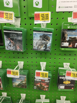 These cute little game cases I saw at Walmart.: V Includes Deals with Gold, G  *Active su  game cat  Windows  XBOX GAME PASS  $39.  Card  RETAIL PRICE  59.88  Buy gar  and m  pps  WS.*  59.8  EACH  0113-0001  799366874  GHOST60  EACH  EACH  J-0001-0014  36694799  TRWOR  Cap 13  0113-0001-0018  79936694800  GHSTREC  B1 GHSTREO  PFA  05  7763037  12/291  Microsoft  XBOX O  SEASON PASS  XBOX ONE  XBOXONE  TOM CLANCY'S  GHOSTRECC  BREAKPOINT  FULL GAME  FULL GAME  EX  Disc Not Included: Download Code Inside  Disc Not Included: Download Code Inside  YEAR 1 PASS  HDR XBOX ONEX  ENHANCED  HDR XBOX ONEX  ENHANCED  STAR WARS  JEDI  FALLEN ORDER  EA  TOMELANCY'S  GHOSTRECON  MATURE 17+  Blood  Intense Violence  Mild Sexual Themes  BREAK POINT  Strong Language  ESRB  In-Game Purchases/Users Interact  MATURE 17+  REQUIRES INTERNET  DIGITAL  CODE  TEEN  DIGITAL CODE WILL BE PRINTED ON YOUR  ESRB  UBISOFT  OR RECEIPT  REQUIRES INTERNET  pawn  ESRB  P19.00 19.8  Microsoft  59.88  RETAIL PRICE  59.88  $59.88  EACH  0113-0001-0023  79936687419  NBA2K60  XONE  EACH  IN-GAME CURRENCY  SNB  35,000 VC  EACH  0113-0001-0015  79936694807  FORZAHO  JE & WIND  OWS  Cap 15  0113-0001-0019  79936694797  NBA2K61  FA  load Code Inside  GNRAIKSM AMG  Cap 13  4K  HDR  Can 13  Ox ONE X  HANCED  NBAZKZO  FORZA  HORIZON 4  UPGRADE YOUR MYPLAYER - BUY MYTEAM PACHS  TO BUILD YOUR PERFECT FANTASY TEAM-AND MORE  EVERYONE  INEXT  Mild Language  EVERYONE  EVERYONE  ESRB  In-Game Purchases/Users Interact  ESRB  DIGITAL  CODE  ESRB  DIGITAL CODE WILL BE PRINTED ON YOUR RECEIPT  thesda  KONE These cute little game cases I saw at Walmart.