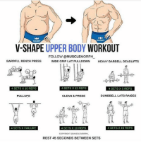 New workout for you 😁: V-SHAPE UPPER BODY WORKOUT  FOLLOW @MUSCLEMORPH  WIDE GRIP LAT PULLDOWN  BARBELL BENCH PRESS  HEAVY BARBELL DEADLIFTS  4 SETS X 10 REPS  4 SETS  12 REPS  4 SETS X5 REPS  PULLUPS  CLEAN & PRESS  DUMBBELL LATS RAISES  4 SETS X FAILURE  4 SETS X 10 REPS  4 SETS X 15 REPS  COPYRIGHT OMUSCLEMORPH  REST 45 SECONDS BETWEEN SETS New workout for you 😁