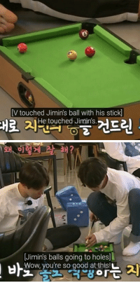 btsarmyzona:   these run bts subtitles … i wonder if they are aware of it : [V touched Jimin's ball with his stick]  He touched Jimin's   Jimin's balls going to holes  Wow, you're so good at thisL btsarmyzona:   these run bts subtitles … i wonder if they are aware of it