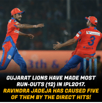 Memes, Run, and Lions: V valvoline  GUJARAT LIONS HAVE MADE MOST  RUN-OUTS 12) IN IPL 2017  RAVINDRA JADEJA HAS CAUSED FIVE  OF THEM BY THE DIRECTHITSI Ravindra Jadeja for you!!