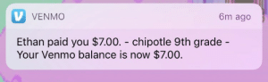 Chipotle, Tumblr, and Blog: V VENMO  om ago  Ethan paid you $7.00. - chipotle 9th grade -  Your Venmo balance is now $7.00. wildewomyn: dlubes:  my friend I haven't talked to in years just paid me back for chipotle from SEVEN years ago  chaotic good