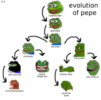 Original: v1.0  mad pepe  beta uprising  evolution  of pepe  original pepe  glad pepe  sad pepe  smug pepe  yippity  poopoo pepe  dingle-doo  well meme'd  good boy  pepe