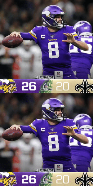 FINAL: @Vikings win in New Orleans.  (by @Lexus) https://t.co/2H7L062tWD: Va  ST.B  8A  ViкIрGS  NFL  on-  FINAL/OT  20 d.  A 26  NFL  WILD CARD   Va  VIKINGS  NFL  FINAL/OT  26  NFL  WILD CARD FINAL: @Vikings win in New Orleans.  (by @Lexus) https://t.co/2H7L062tWD