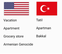 Armenian, Armenian Genocide, and Genocide: Vacatiorn  Apartment  Grocery store  Armenian Genocide  Tati  Apartmarn  Bakkal Cultural differences https://t.co/LYl9JspXUl