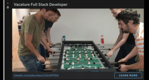 LinkedIn, Jobs, and Programmer Humor: Vacature Full Stack Developer  linkedin.com/jobs/view/1332149704/  LEARN MORE Can companies stop using foosball or ping-pong table as a benefit in their job ads?
