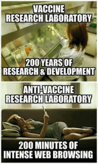 """Bad, Bailey Jay, and Memes: VACCINE  RESEARCH LABORATORY  200 YEARSOR  RESEARCH& DEVELOPMENT  ANTI VACCINE  RESEARCH LABORATORY  200 MINUTES OF  INTENSE WEB BROWSING <p>When someone tries to convince you the vaccines are bad via /r/memes <a href=""""http://ift.tt/2tSgJK8"""">http://ift.tt/2tSgJK8</a></p>"""
