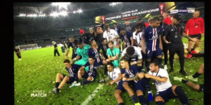 Mbappe actually pushed Neymar out of PSG's trophy celebration today 😂😭😂 https://t.co/5vyWPOZAxX: VACOLEUR  DorN SPORTS HD1  TROPHEE DES CHAMPIONS  -M  All  APRES  MATCH Mbappe actually pushed Neymar out of PSG's trophy celebration today 😂😭😂 https://t.co/5vyWPOZAxX