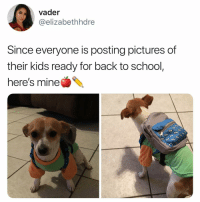 Life, Memes, and School: vader  @elizabethhdre  Since everyone is posting pictures of  their kids ready for back to school,  here's mine Ready for my third year of uni I didn't bother school@shopping I am ready for all the business and accounting classes to destroy my life