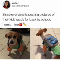 Memes, School, and Kids: vader  @elizabethhdre  Since everyone is posting pictures of  their kids ready for back to school,  here's mine Y the hell arent u following @kalesaladanimals yet!!
