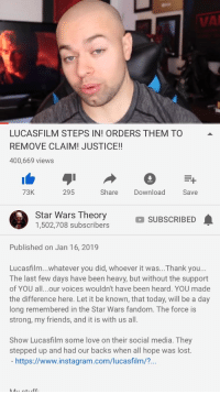 VAI LUCASFILM STEPS IN! ORDERS THEM TO REMOVE CLAIM! JUSTICE! 400669