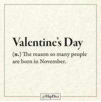 November babies raise your hands!: Valentine's Dav  (n.) The reason so many people  are born in November.  @HipDict November babies raise your hands!