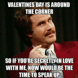 Dank, Love, and Valentine's Day: VALENTINES DAY IS AROUND  THE CORNER  SO IF YOU'RE SECRETLYIN LOVE  WITH ME, NOW WOULDBE THE  TIME TO SPEAKUP