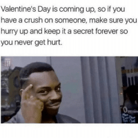 Crush, Valentine's Day, and Forever: Valentine's Day is coming up, so if you  have a crush on someone, make sure you  hurry up and keep it a secret forever so  you never get hurt. Sounds like a plan