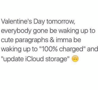 "Anaconda, Cute, and Relationships: Valentine's Day tomorrow,  everybody gone be waking up to  cute paragraphs & imma be  Waking up to ""100% charged"" and  ""update iCloud storage"" C"