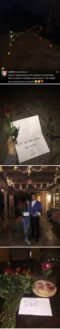 "Funny,  Prom, and Sooo-Cute: Valerie @valxfranco  1d  wasn't expecting to be asked to prom like  this, a trail of candles and roses he made  the costume by himself   ick up and follow  the ruses.   Th  ▲""4"" this is sooo cute 😍😩"