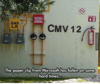 Memes, Microsoft, and 🤖: VALVULA  GENERAL  GAS  CMV 12A  The paper clip from Microsoft has fallen on some  hard times. He's Definitely Seen Better Days