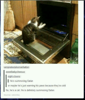 Bad kitty!omg-humor.tumblr.com: vampiratestakemanhatten:  sweetbabycheesus:  night-clowns:  | He's summoning Satan  or maybe he's just warming his paws because they're cold  No, he's a cat. He is definitely summoning Satan.  Source: caturday Bad kitty!omg-humor.tumblr.com