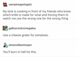 : vampireapologist  My kink is cooking in front of my friends who know  which knife is made for what and forcing them to  watch me use the wrong one for the wrong thing  gallusrostromegalus  Use a cheese grater for tomatoes.  simonalkenmayer  You'll burn in hell for this.