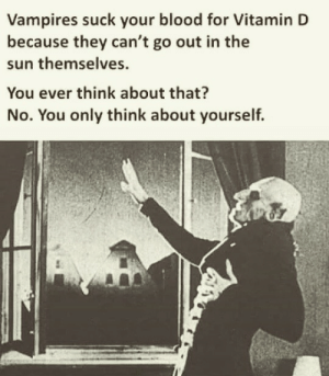 Gotta think of others by Holofan4life MORE MEMES: Vampires suck your blood for Vitamin D  because they can't go out in the  sun themselves.  You ever think about that?  No. You only think about yourself. Gotta think of others by Holofan4life MORE MEMES
