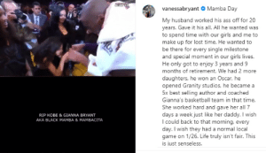 "Vanessa Bryant on IG  ""My husband worked his ass off for 20 years. Gave it his all. All he wanted was to spend time with our girls & me to make up for lost time."" https://t.co/yHN4T1xB82: Vanessa Bryant on IG  ""My husband worked his ass off for 20 years. Gave it his all. All he wanted was to spend time with our girls & me to make up for lost time."" https://t.co/yHN4T1xB82"
